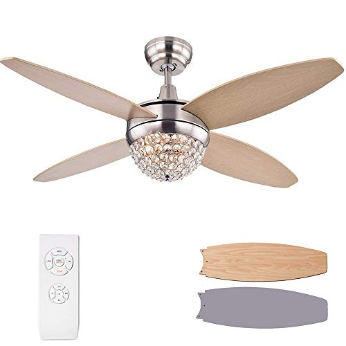 Chandelier Crystals Fans, Remote Fan Remote Control Wood Chandelier Brown and Silver Grey Ceiling Fan Living Room 3 Rotating Speed 52 inchs