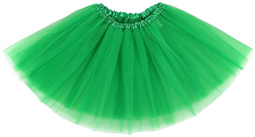 Green Tutu (Simplicity Women's Classic Elastic, 3-Layered Tulle Tutu Skirt, Dark Green, One Size)