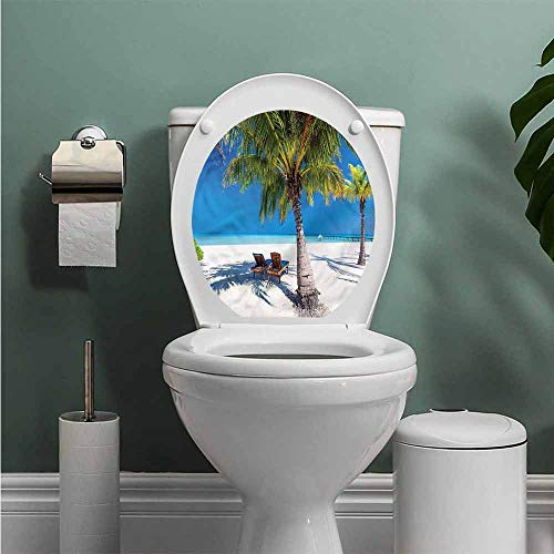 ThinkingPower Beach Toilet Seats Wall Stickers Removable Island Palms Sunbeds Bathroom Decoration Decal W14XL14 INCH