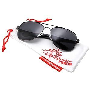 grinderPUNCH Wide Frame Aviator Sunglasses - 150mm - Gunmetal Frame - Green Lens