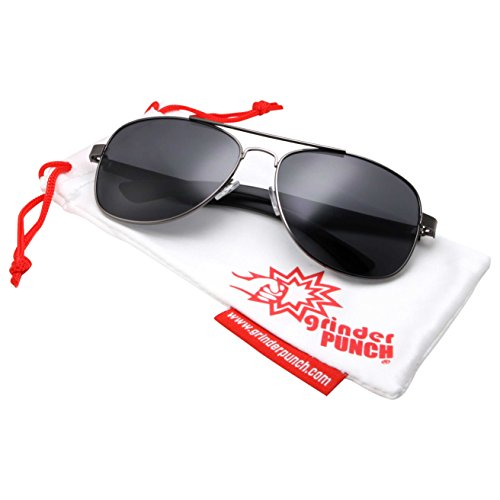 grinderPUNCH Wide Frame Aviator Sunglasses - 150mm - Gunmetal Frame - Green - Sunglasses 150mm