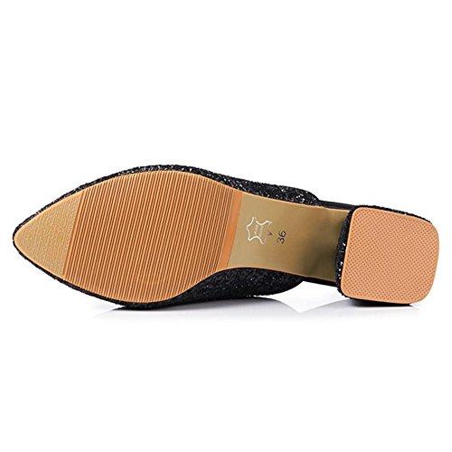 Mules RAZAMAZA Sandals 1 Block Black Heel Women Fashion qRwgU