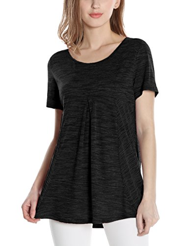 Messic Women's Short Sleeve Scoop Neck Pleated Soft Lightweight Knitted T-shirt Tunic Tops (Medium, Black)