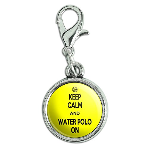 Antiqued Bracelet Pendant Zipper Pull Charm with Lobster Clasp Keep Calm and P-Y - Water Polo On Sports - Keep Calm and (Water Polo Charm Bracelet)