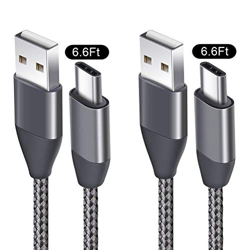USB C Cable 6.6FT 2 Pack, USB A 2.0 to Type C Charger Cord Nylon Braided USB-C Charging Cables fit Samsung Galaxy S9 S8 Plus S9+ S8+ Note 9 8 LG V30 V20 G6 G5 Google Pixel 2 XL Moto Z2 Nintendo Switch