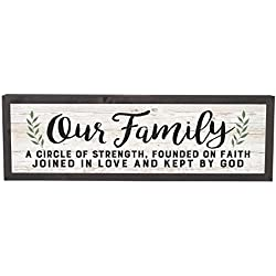 Our Family Strength Faith Love 25 x 8 Inch Solid Pine Wood Farmhouse Frame Wall Plaque