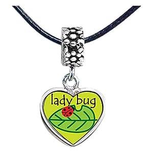 Chicforest Silver Plated Lady Bug On Leaf Photo Flower Head Dangle Heart Charm Beads Fits Pandora Bracelets
