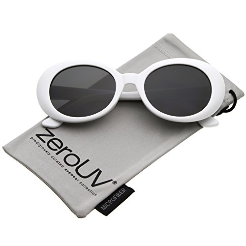 zeroUV - Large Clout Goggles Thick Oval Frame Sunglasses with Round Lens 53mm (White / - The Sunglasses Round Row