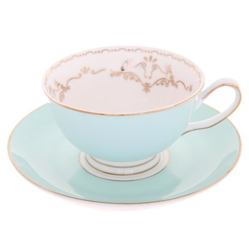 Bombay Duck Miss Darcy Mint Green and Gold Bird Cup and Saucer Set