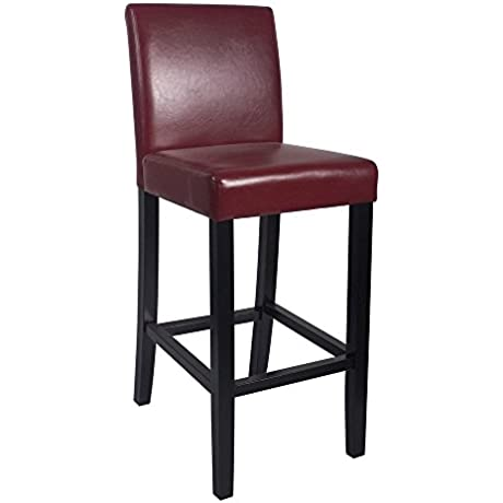 Set Of 2 Kendall Contemporary Wood Faux Leather Barstool Red Apple