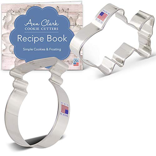 Goldfish Cookie Cutter Set with Recipe Booklet - 2 piece - Goldfish and Fish Bowl - Ann Clark - USA Made Steel