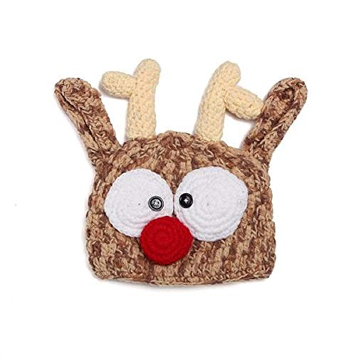Newborn Baby Girl/Boy Crochet Knit Costume Photo Photography Prop Hats Outfits (Reindeer)]()
