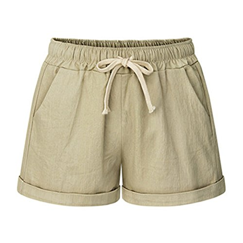 FunkyAmy Women's Juniors Ultra Light Lounging Ruffle Short Beach Shorts Khaki M Womens Perfect Khaki Shorts
