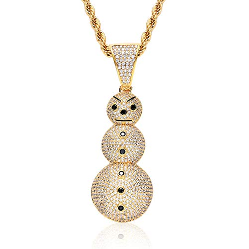 (ICE JEWELRY 14K Gold Plated Micro Paved Cubic Zircon Cartoon Christmas Snowman Pendant Necklace with 24 Inch Rope Chain (Gold) )