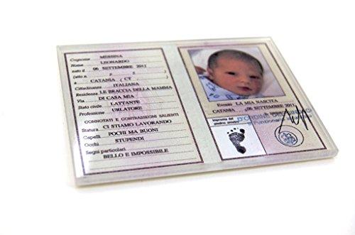 Bomboniere Di Carta Battesimo : Bomboniere battesimo magnete personalizzabile carta identita