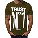 aiNMkm Solid T Shirts Men,Fashion Men's Casual Slim Letter Printed Short Sleeve T Shirt Top Blouse,Green,3XL