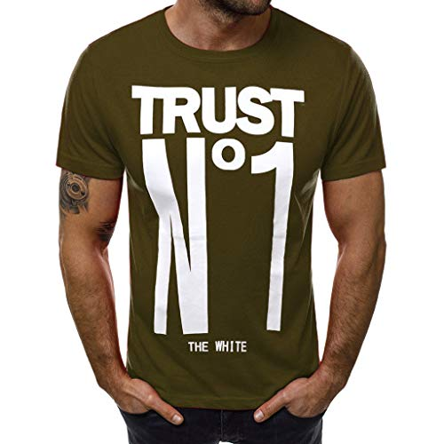 (Men's Letter Printed T Shirt Fashion top Casual Slim Short Sleeve Blouse Outdoor t Shirt)