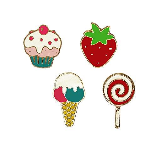 (Fashion Cartoon Enamel Brooch Pins Set for Unisex Child Women's Clothing Decorate (Ice cream Strawberry Lollipop Set))