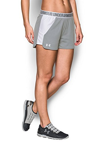 Under Armour Women's Play Up Shorts 2.0, True Gray Heather (025)/White, XX-Small by Under Armour (Image #1)