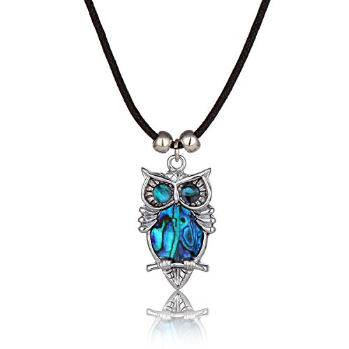 Paua Shell Pendant (Barch Blue Abalone Paua Shell Pendant Necklace Silver Jewelry Mood with Wax Cord as Christmas Jewelry Gift for Girls/Boys (Night Owl))