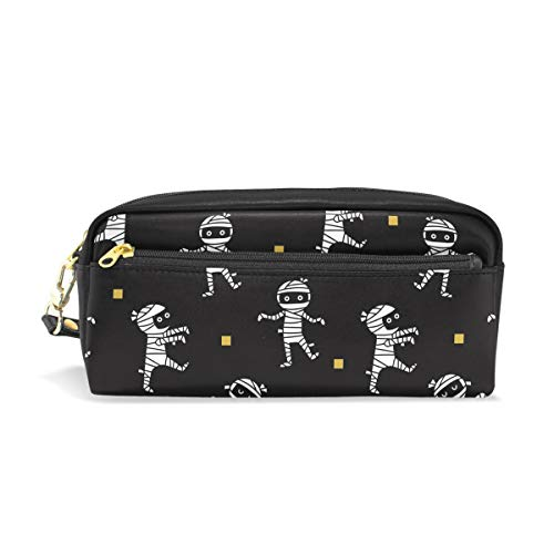 (DERLONKAJE Halloween Mummies PU Leather Student Pencil Case Cosmetic Bag Pen Makeup Pouch for Girl)
