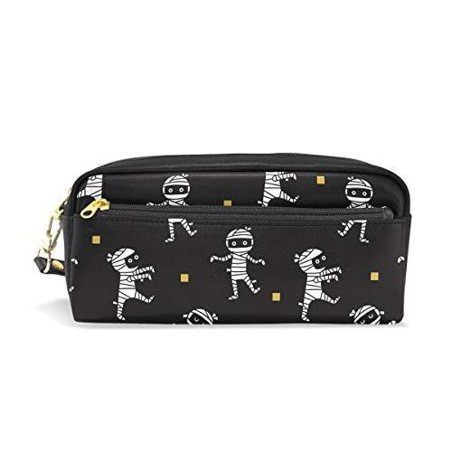 DERLONKAJE Halloween Mummies PU Leather Student Pencil Case Cosmetic Bag Pen Makeup Pouch for Girl Boy ()