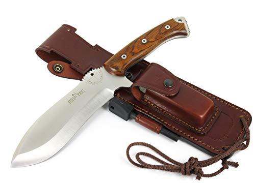 JEO-TEC Nº55 Bushcraft Survival Hunting Camping Knife, MOVA-58, Genuine Leather Multi-Position Sheath + Firesteel + Sharpener Stone, Handmade