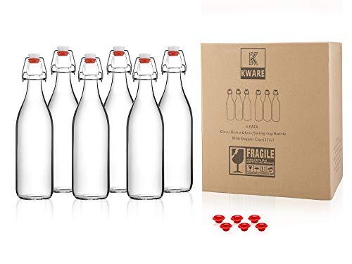 Kware - Best Swing Top Glass Bottle [33.75 oz/1 liter] - Set of 6 - Giara Glass Bottle with Stopper - Caps Gasket Seal Airtight, for Kombucha, Oil, Vinegar, Beverages, Kefir - Clear