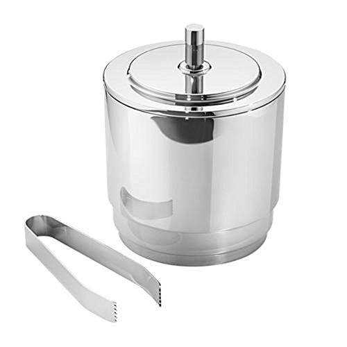 Georg Jensen Manhattan Ice Bucket and Tongs, Stainless Steel by Georg Jensen
