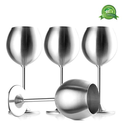 Modern Innovations Stainless Steel Stemmed Wine Glasses, Set of 4, 12 Oz Elegant Wine Glasses Made of Dishwasher Safe Unbreakable BPA Free Shatterproof SS Great for Daily, Formal & Outdoor Use ()
