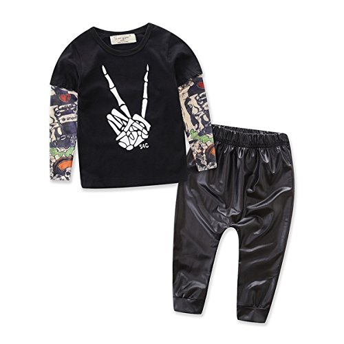 2pcs Newborn Baby Boys Black T-shirt Tops+Leather Pants Outfits Set (12-18 Months, Black)