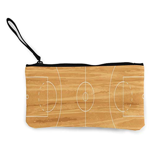 Basketball Court New Women's Travel Canvas Coin Purse Custom Personalized Small Clutch Pouch Cosmetic Organizer Bag
