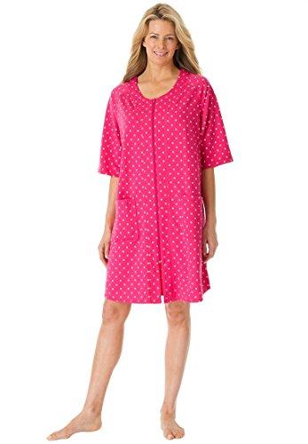 Dreams & Co. Women's Plus Size Short French Terry Robe Sweetberry Dot,L (Womens Plus Size Robes)