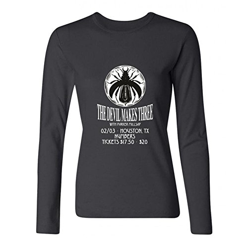 XIULUAN Women's The Devil Makes Three Band Bluegrass Logo Long Sleeve T-shirt Size L ColorName