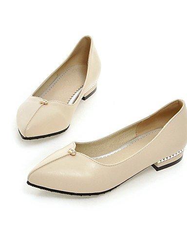 Bajo comodidad libre uk8 us10 cn43 oficina carrera Toe señaló zapatos de aire 5 y eu42 Pisos Tacón PDX 5 de mujer Sintético Cuero al beige 60nq8wB