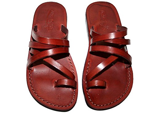 Brown Buckle Free Unisex Leather Sandals / Genuine Handmade Leather Holy Land Biblical Jesus Sandals (FBA) (EURO  41)