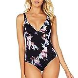 Mlide Women's Ladies Vintage Bikini Sets Beach Swimwear Solid One Piece Bandage Bikini Swimsuit Bathing Suit(Printed Navy,M)