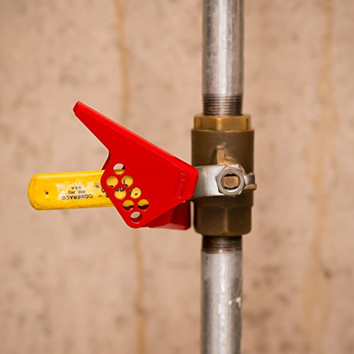 Lockout Safety Supply 7273 Steel Small Ball Valve Lockout, Red by Lockout Safety Supply (Image #2)