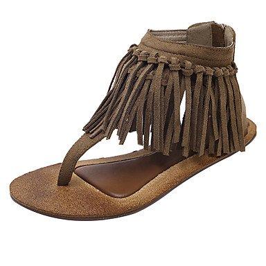 RUGAI-UE Moda de Verano Mujer sandalias casuales zapatos de tacones PU Confort,Blanca,US7.5 / UE38 / UK5.5 / CN38 Khaki