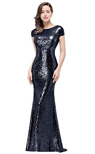 Glitter Prom Evening Gowns for Women Formal Boatneck Backless Mermaid Bridesmaid Dresses Long, Navy, 10