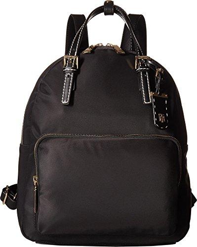 Tommy Hilfiger Women's Julia Double Handle Solid Nylon Backpack Black One (Julia Handle)