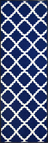 "ADGO Collection Contemporary Moroccan Mediterranean Trellis Lattice Design Rubber-Backed Non-Slip Non-Skid Area Rugs, Royal Blue and White, 20"" x 59"""
