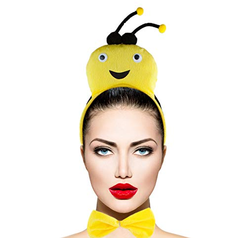 Lux Accessories Yellow Pink Black Bee Head Bowtie Sting Hand Costume Dressup