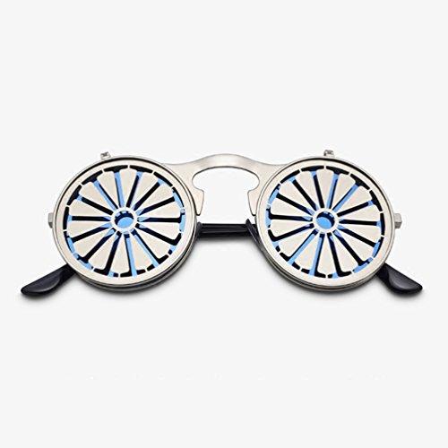 lunettes De Rétro Lunettes Des Ronde Nouveau Hommes HL Steampunk Personnalité de Cool soleil Harajuku Femmes Mode Flip pwxPdw