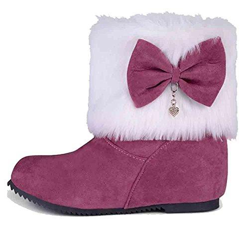Easemax Womens Sweet Fluffy Bows Rhinestones Ronde Neus Mid Hidden Hak Slip Op Rode Laarzen