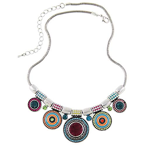 Yanvan Choker Necklace, Fashion Ethnic Vintage Plated Colorful Bead Pendant Bohemian Multicolor Round Pendants Enamel Rhinestone Ethnic Necklace for Women