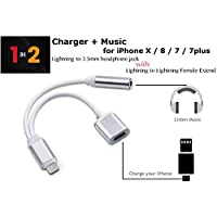 JIMAT 2 in 1 8-Pin to AUX + Charger, 8 Pin Lightning to AUX 3.5mm Jack Audio Headphone Converter Adapter   Play Music & Charging   For iPhone X 10 8 7 7plus 6 6s 6plus with iOS 10 11   Silver