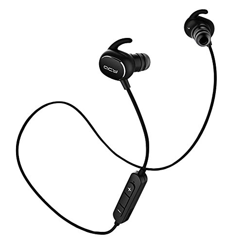 Bluetooth Headphones, QCY QY19 Wireless Stereo Sport Earphones Headset Bluetooth 4.1, IPX4 Sweatproof,Secure Ear Hooks Design - Black(One Pcs)