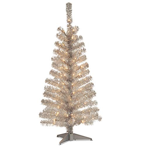 National Tree 4 Foot Silver Tinsel Tree with Plastic Stand and 70 Clear Lights (TT33-300-40)
