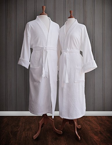 Couple's Terry Cloth Bathrobe Egyptian Cotton Unisex/One Size Luxurious Soft Plush Elegant Luxor Linens San Marco (Two Robes, Custom monogram) (2 Monogram)